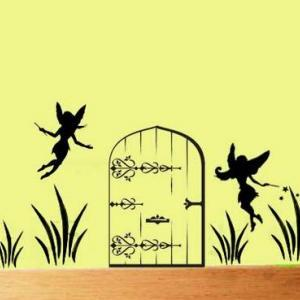 Fairy Door with fairies vinyl wall ..
