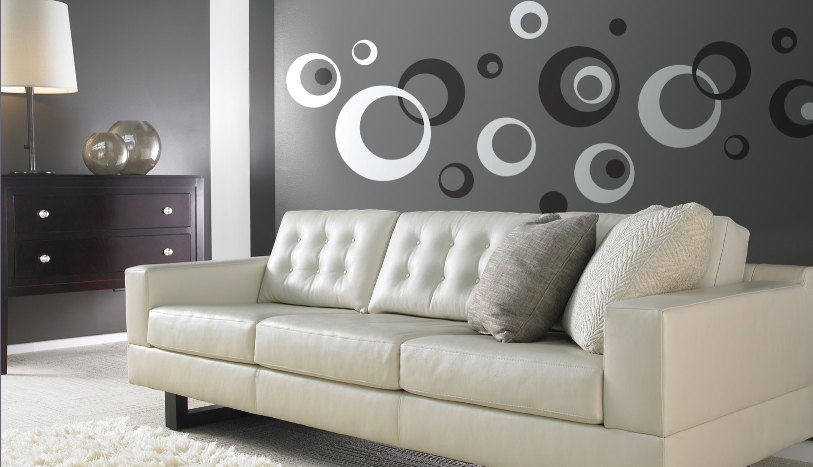 Retro Wall Vinyl Sticker Decal Circles Rings Dots Kids 2 color
