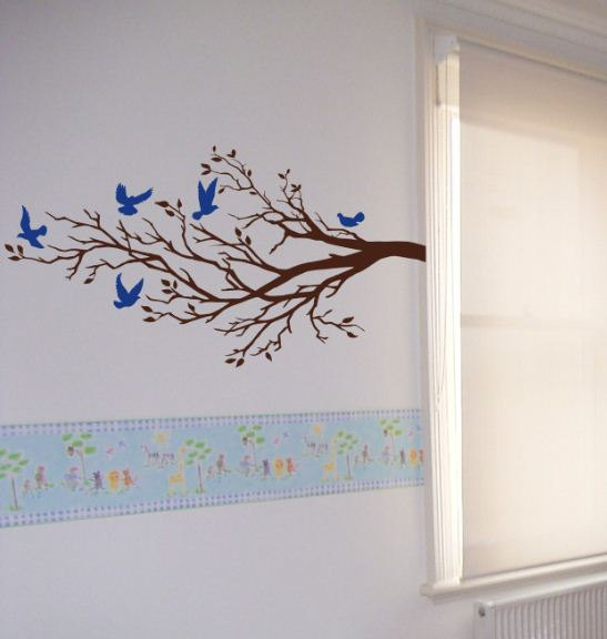 Branch Wall Art wall art vinyl decal five birds and branch, tree, wall, room decor