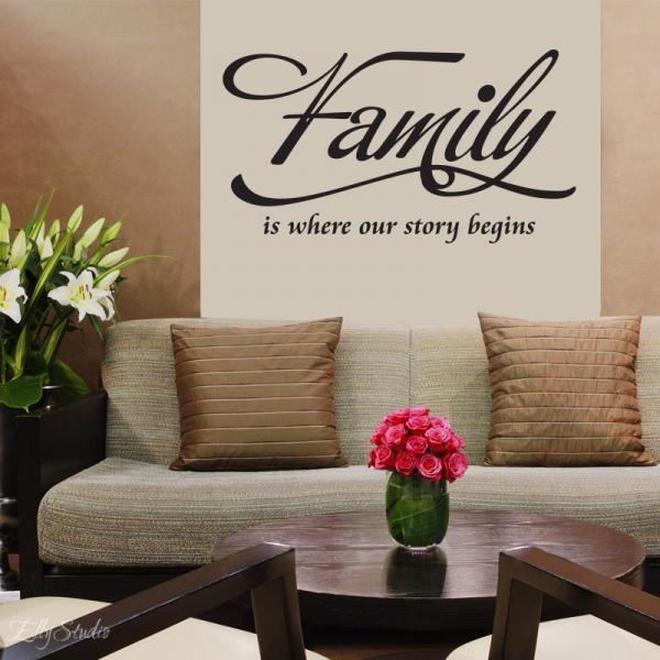 wall dcor vinyl lettering decal love quote family is where our story begins