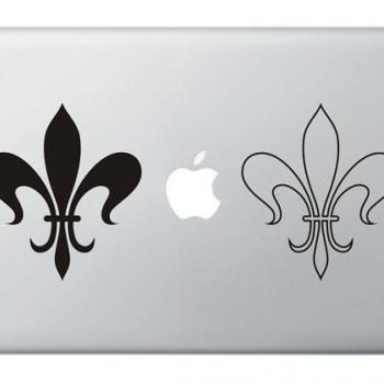 Petits Paris In Love French Fleur de Lis Apple Vinyl Sticker, Decal for Macbook, Macbook Pro, IPad, Laptops Tattoo