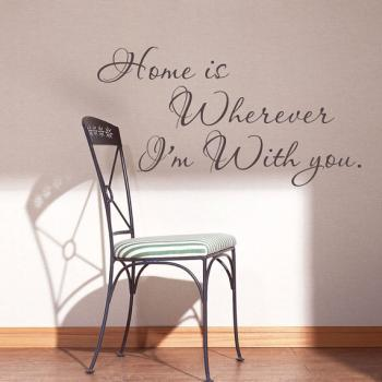 Famous quotes Home is wherever I'm with you Wall words vinyl love quote décor