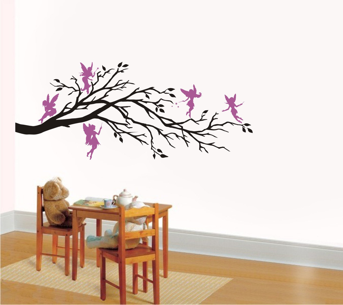 Vinyl Wall Art wall art vinyl decal fantasy five fairies and branch, nursery